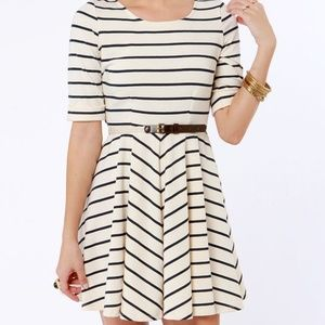 Lost Shirley Navy and Cream Striped Dress